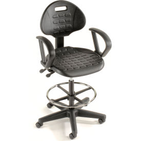 Ergonomic Stool With Arms - Polyurethane - 5 Way Adjustment - Black
