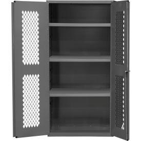 """Durham Heavy Duty Expanded Metal Mesh Door Cabinet EMDC-362472-95 - 14 Gauge 36""""W x 24""""D x 72""""H"""