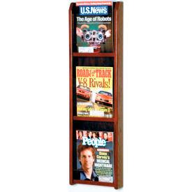 3 Pocket Oak & Acrylic Wall Rack Mahogany