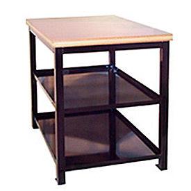 24 X 36 X 30 Double Shelf Shop Stand - Maple - Black