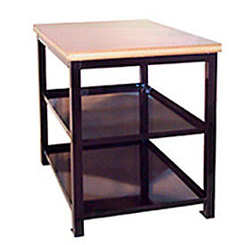 24 X 36 X 24 Double Shelf Shop Stand - Maple - Blue