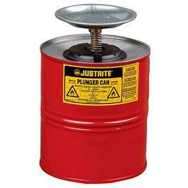 Justrite Safety Plunger Can - 4 Quart Steel, 10308