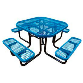 "46"" Octagonal Picnic Table Blue Expanded Metal Surface Mount Style"