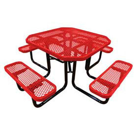 """46"""" Octagonal Picnic Table Red Expanded Metal Surface Mount Style"""