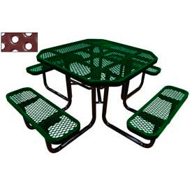 """46"""" Octagonal Picnic Table Green Perforated Metal Surface Mount Style"""