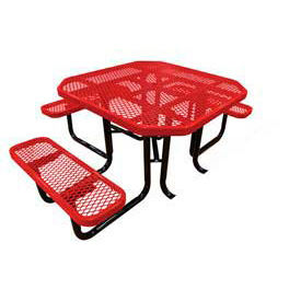 """46"""" Octagonal Picnic Table (Ada) Red Expanded Metal Surface Mount Style"""