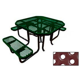 "46"" Octagonal Picnic Table (Ada) Green Perforated Metal Surface Mount Style"