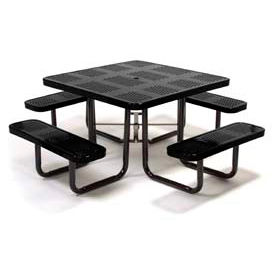 "46"" Square Picnic Table Black Perforated Metal Surface Mount Style"