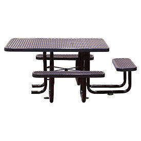 """58"""" Picnic Table (ADA) Black Expanded Metal Surface Mount Style"""