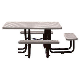 """58"""" Picnic Table (ADA) Gray Expanded Metal Surface Mount Style"""