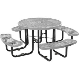 """46"""" Round Picnic Gray Expanded Metal Surface Mount Style"""