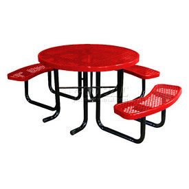 "46"" Round Picnic Table (Ada) Red Expanded Metal Surface Mount Style"