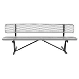 "96"" Bench With Backrest Gray Expanded Metal Surface Mount Style"