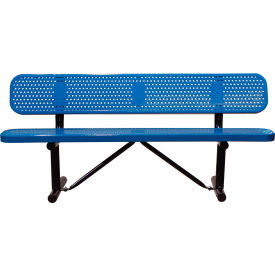 "96"" Bench With Backrest Blue Perforated Metal Surface Mount Style"