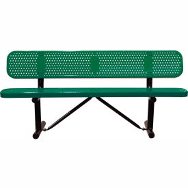 """96"""" Bench With Backrest Green Perforated Metal Surface Mount Style"""