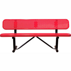"""96"""" Bench With Backrest Red Perforated Metal Surface Mount Style"""
