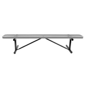 """72"""" Bench Gray Perforated Metal Surface Mount Style"""