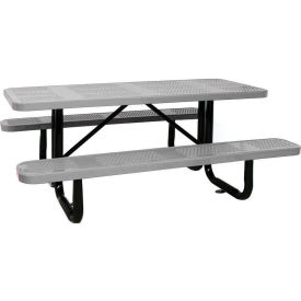 """72"""" Rectangular Picnic Table Gray Perforated Metal Surface Mount Style"""