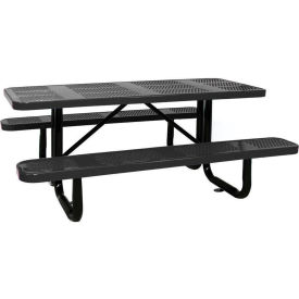"""96"""" Rectangular Picnic Table Black Perforated Metal Surface Mount Style"""