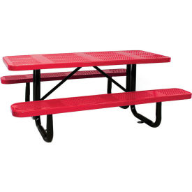 """96"""" Rectangular Picnic Table Red Perforated Metal Surface Mount Style"""