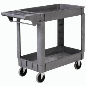 """Deluxe Small 2 Shelf Plastic Utility & Service Cart 5"""" Rubber Casters"""