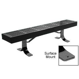 "48"" Slatted Flat Bench Surface Mount Style - Black"