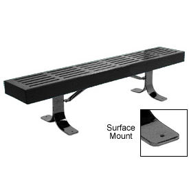 "96"" Slatted Flat Bench Surface Mount Style - Black"