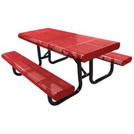 """120"""" Radial Edge Surface Mount Picnic Table, Perforated Metal - Red"""