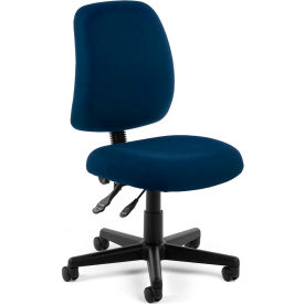 OFM Posture Series Armless Swivel Task Chair, Fabric, Mid Back, Navy
