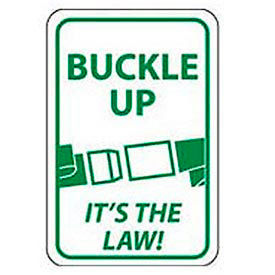"Aluminum Sign -  Buckle Up Its The Law - .063"" Thick, TM135H"