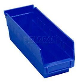 "Quantum Plastic Shelf Storage Bin - QSB201 Nestable 4-1/8""W x 11-5/8""D x 6""H Blue - Pkg Qty 36"
