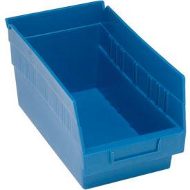 "Quantum Plastic Shelf Storage Bin - QSB202 Nestable 6-5/8""W x 11-5/8""D x 6""H Blue - Pkg Qty 30"