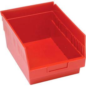 "Quantum Plastic Shelf Storage Bin - QSB207 Nestable 8-3/8""W x 11-5/8""D x 6""H Red - Pkg Qty 20"