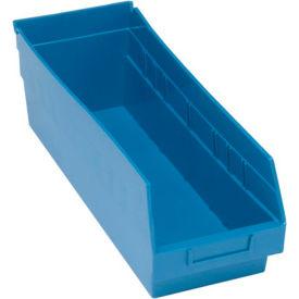 "Quantum Plastic Shelf Storage Bin - QSB204 Nestable 6-5/8""W x 17-7/8""D x 6""H Blue - Pkg Qty 20"
