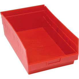 "Quantum Plastic Shelf Storage Bin - QSB210 Nestable 11-1/8""W x 17-7/8""D x 6""H Red - Pkg Qty 8"