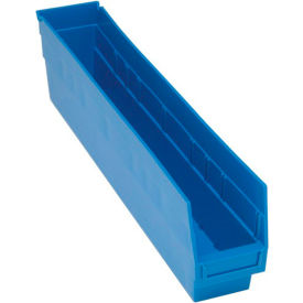"Quantum Plastic Shelf Storage Bin - QSB205 Nestable 4-1/8""W x 23-5/8""D x 6""H Blue - Pkg Qty 16"