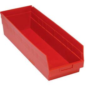 "Quantum Plastic Shelf Storage Bin - QSB214 Nestable 8-3/8""W x 23-5/8""D x 6""H Red - Pkg Qty 6"