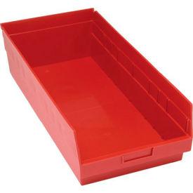 "Quantum Plastic Shelf Storage Bin - QSB216 Nestable 11-1/8""W x 23-5/8""D x 6""H Red - Pkg Qty 6"