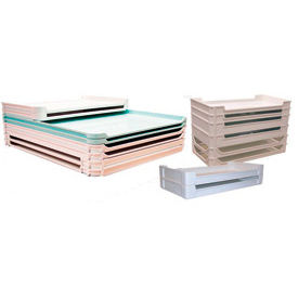 """Molded Fiberglass Stackable Conveyor/Assembly Container 805308 -30-3/8""""L x 15-7/8""""W x 4-1/8""""H, Green"""