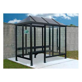 Smoking Shelter Vented Poly-Hip Roof Four Sided With Left Front Opening 12' X 5'