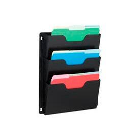 Steel Triple Wall File Pockets Letter Size - Black- Pkg Qty 1
