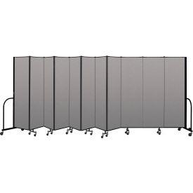 """Screenflex Portable Room Divider 11 Panel, 6'8""""H x 20'5""""L, Vinyl Color: Gray- Pkg Qty 1"""