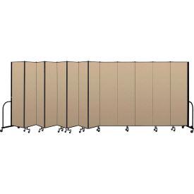"Screenflex Portable Room Divider 13 Panel, 7'4""H x 24'1""L, Vinyl Color: Oatmeal- Pkg Qty 1"