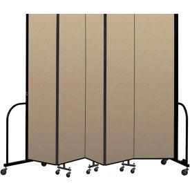 """Screenflex Portable Room Divider 5 Panel, 8'H x 9'5""""L, Vinyl Color: Oatmeal"""