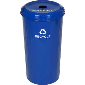 Round Steel Blue Recycling Container with Cans Lid - 20 Gallon Capacity