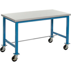 """60""""W x 30""""D Mobile Packaging Workbench - Plastic Laminate Square Edge - Blue"""
