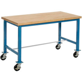 "60""W x 30""D Mobile Packaging Workbench - Maple Butcher Block Square Edge - Blue"