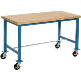 "72""W x 30""D Mobile Packaging Workbench - Maple Butcher Block Safety Edge - Blue"