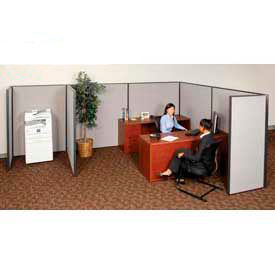 """Pre-Configured Partitioned Office Starter, 10'W x 10'D x 72""""H, Gray"""
