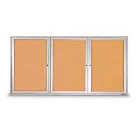 "United Visual Products Three-Door Indoor Corkboard - 72""W x 48"""